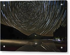 Star Trails Over Mount Hood At Trillium Lake Acrylic Print