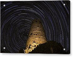 Star Trails Over The Watchtower Acrylic Print by Jason Hatfield