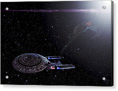 Star Trek - Ambush - Klingon Bird Of Prey - Uss Enterprise D Acrylic Print by Jason Politte