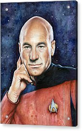 Captain Picard Portrait Acrylic Print by Olga Shvartsur