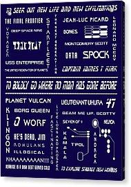 Star Trek Remembered In Navy Blue Acrylic Print