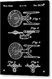 Star Trek Uss Enterprise Toy Patent 1981 - Black Acrylic Print by Stephen Younts