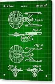 Star Trek Uss Enterprise Toy Patent 1981 - Green Acrylic Print by Stephen Younts