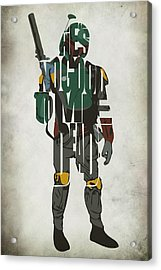 Star Wars Inspired Boba Fett Typography Artwork Acrylic Print by Ayse Deniz