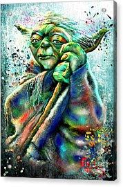 Star Wars Yoda Acrylic Print by Daniel Janda