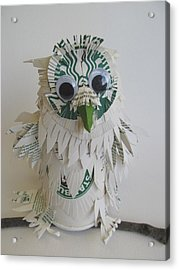 Starbucks Snowy Owl Acrylic Print by Alfred Ng