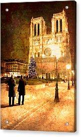 Stardust Over Notre Dame De Paris Cathedral Acrylic Print by Mark E Tisdale