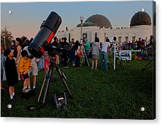 Stargazers At Dusk - Griffith Observatory Los Angeles California Acrylic Print by Ram Vasudev