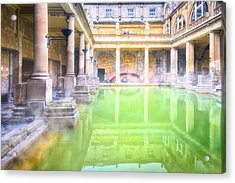 Staring Into Antiquity At The Roman Baths - Bath England Acrylic Print by Mark E Tisdale