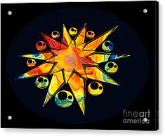 Acrylic Print featuring the painting Staring Into Eternity Abstract Stars And Circles by Omaste Witkowski