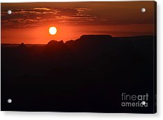 Stark Orange Sunset Twilight Over Silhouetted Spires In Grand Canyon National Park Acrylic Print