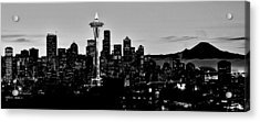 Stark Seattle Skyline Acrylic Print by Benjamin Yeager