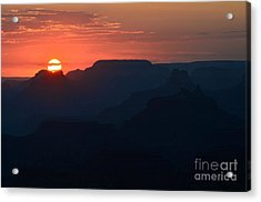 Stark Setting Sun Twilight Over Silhouetted Spires In Grand Canyon National Park Acrylic Print