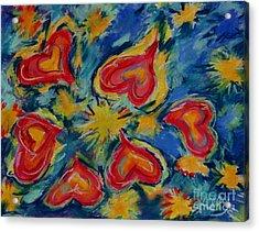 Starry Hearts Acrylic Print by Kelly Athena