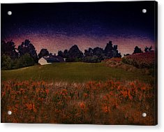 Starry Indigo Blue Twilight In The Country  Acrylic Print