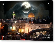 Full Moon At The Dome Of The Rock Acrylic Print