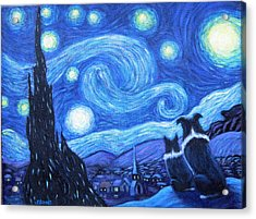 Starry Night Border Collies Acrylic Print by Fran Brooks