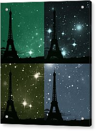 Starry Night - Eiifel Tower Paris Acrylic Print by Marianna Mills