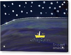 Acrylic Print featuring the digital art Starry Night Fishing by Haleh Mahbod