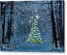 Starry Night Forest Christmas Acrylic Print