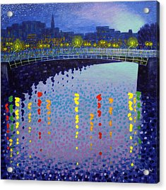 Starry Night In Dublin Half Penny Bridge Acrylic Print by John  Nolan