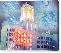 Acrylic Print featuring the painting Starry Night Indowntown La by John Fish
