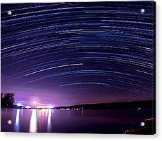 Starry Night On Cayuga Lake Acrylic Print by Paul Ge