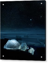 Starry Night Over Ice On Black Sand Acrylic Print by Arctic-images