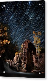 Starry Night Star Trails At The Crystal River Mill Acrylic Print