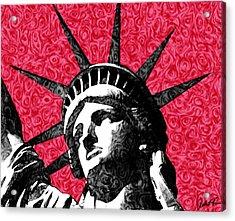 Starry Night Statue Of Liberty Print Acrylic Print