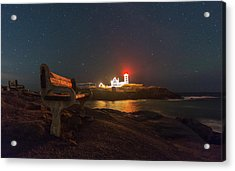 Starry Skies Over Nubble Lighthouse  Acrylic Print