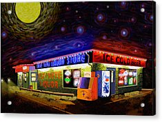 Starry Starry Fly By Nite Drive Thru Liquor Store Acrylic Print by Robert FERD Frank