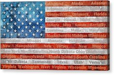 Stars And Stripes With States Acrylic Print