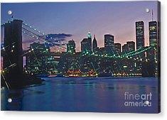 Stars Brooklyn Bridge Acrylic Print by Bruce Bain