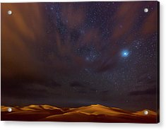 Stars, Dunes And Clouds In Marzuga Desert Acrylic Print