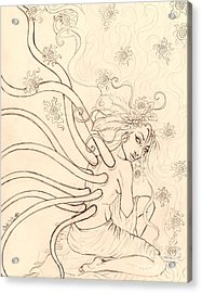 Stars Entwined In Her Hair Acrylic Print by Coriander  Shea