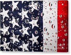Stars Stripes And Water Drops Acrylic Print by Sharon Dominick