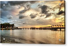 Starting A Night Of Fishing At Crab Creek Pier Acrylic Print