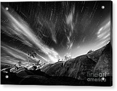 Startrails Over Badlands Acrylic Print by Charline Xia