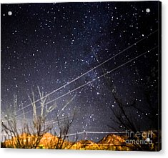 Stars Drunk On Lightpaint Acrylic Print by Angela J Wright