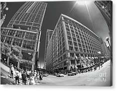 State And Randolph Street At Lunchtime Chicago Il Acrylic Print by Linda Matlow