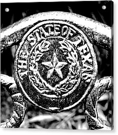 State Of Texas Seal And Lone Star On Iron Fence After Rain Square Format Bw Conte Crayon Digital Art Acrylic Print