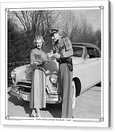 Acrylic Print featuring the photograph State Patrolman Assists Young Woman Traveler 1951 by Merle Junk