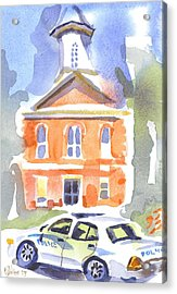 Stately Courthouse With Police Car Acrylic Print by Kip DeVore