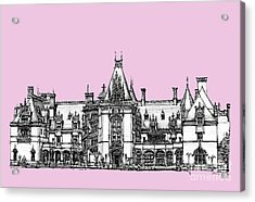 Stately Home In Pink Acrylic Print by Building  Art