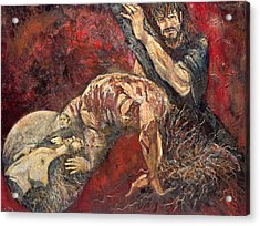 Station V Simon Of Cyrene Helps Jesus Carry His Cross Acrylic Print by Patricia Trudeau