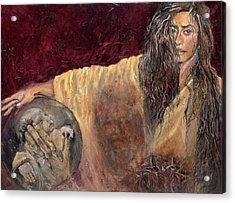 Station Vi Veronica Wipes The Face Of Jesus Acrylic Print by Patricia Trudeau