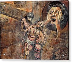 Station Xiii The Body Of Jesus Is Taken Down From The Cross Acrylic Print by Patricia Trudeau