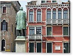 Statue And Building Facade Acrylic Print by Sami Sarkis