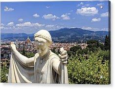 Statue At San Miniato Al Monte Acrylic Print by Rick Starbuck